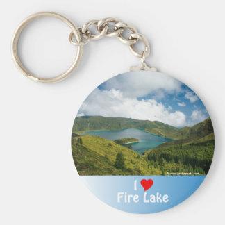 Paisaje del lago azores llavero redondo tipo pin