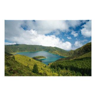 Paisaje del lago azores papelería de diseño