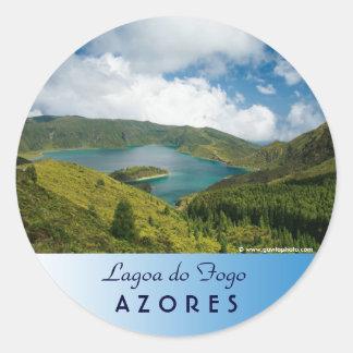 Paisaje del lago azores pegatina redonda