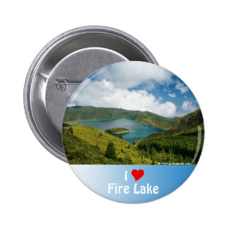 Paisaje del lago azores pin redondo de 2 pulgadas