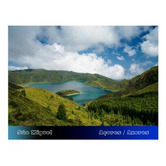Paisaje del lago azores tarjetas postales