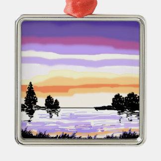 Paisaje del lago sunset adorno navideño cuadrado de metal