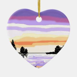 Paisaje del lago sunset adorno navideño de cerámica en forma de corazón