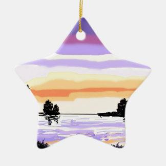 Paisaje del lago sunset adorno navideño de cerámica en forma de estrella