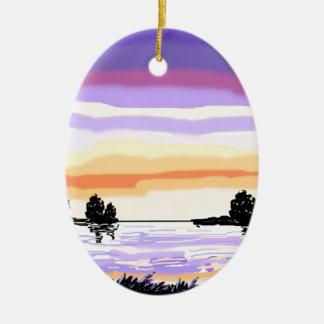 Paisaje del lago sunset adorno navideño ovalado de cerámica