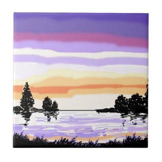 Paisaje del lago sunset azulejo cerámica