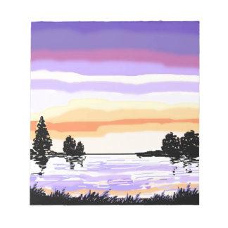Paisaje del lago sunset blocs de papel