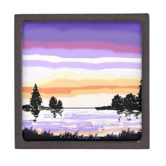 Paisaje del lago sunset caja de regalo de calidad