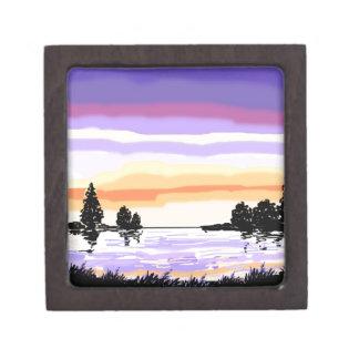 Paisaje del lago sunset cajas de joyas de calidad