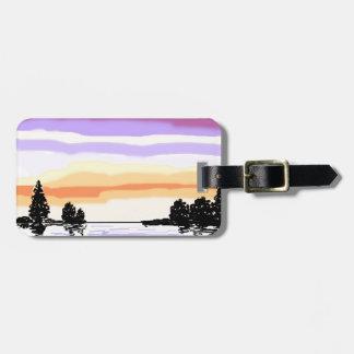 Paisaje del lago sunset etiqueta de maleta