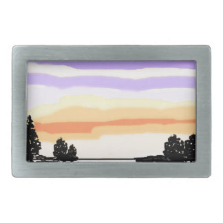 Paisaje del lago sunset hebilla de cinturon rectangular
