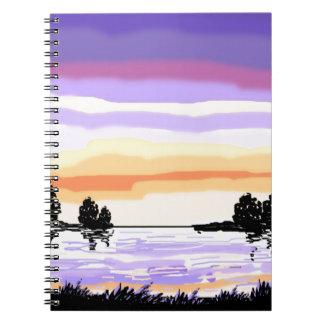 Paisaje del lago sunset libreta espiral