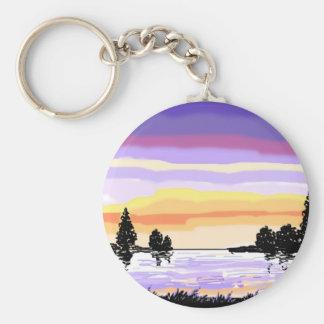 Paisaje del lago sunset llavero personalizado