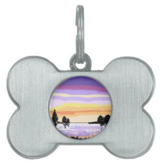 Paisaje del lago sunset placas de mascota