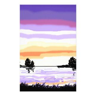 Paisaje del lago sunset papelería personalizada
