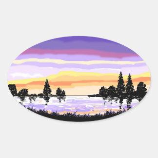 Paisaje del lago sunset calcomania de óval personalizadas