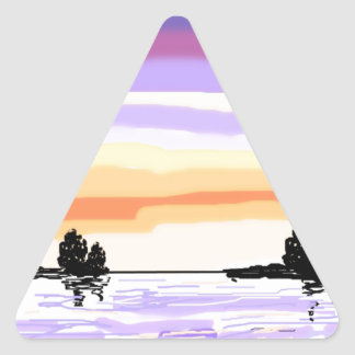 Paisaje del lago sunset calcomanías triangulos