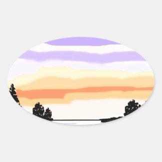Paisaje del lago sunset pegatina de ovaladas