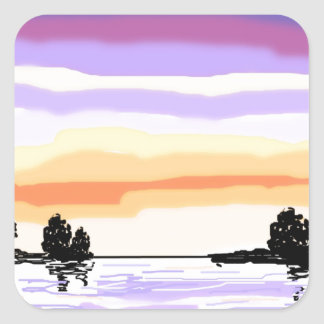 Paisaje del lago sunset pegatina cuadrada