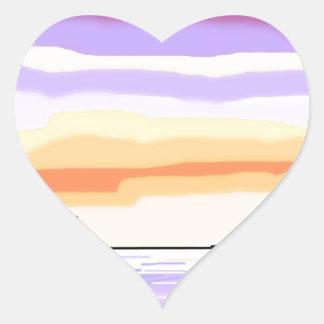 Paisaje del lago sunset pegatina en forma de corazón