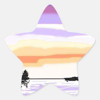Paisaje del lago sunset pegatina en forma de estrella