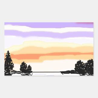 Paisaje del lago sunset pegatina rectangular