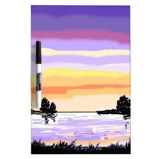Paisaje del lago sunset tablero blanco
