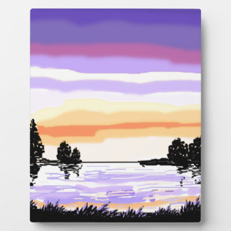 Paisaje del lago sunset placas para mostrar