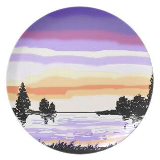 Paisaje del lago sunset plato