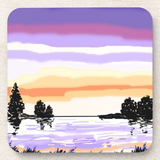 Paisaje del lago sunset posavasos de bebida