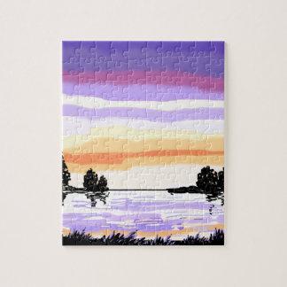 Paisaje del lago sunset rompecabezas con fotos