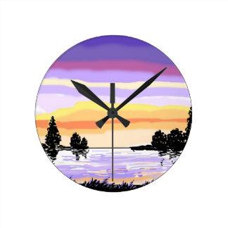 Paisaje del lago sunset reloj