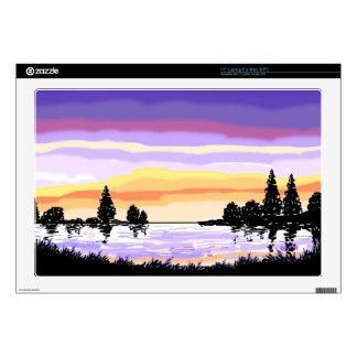Paisaje del lago sunset 43,2cm portátil calcomanías