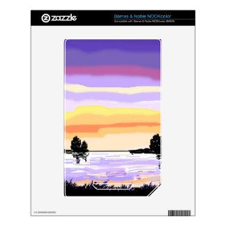 Paisaje del lago sunset calcomanías para NOOK color