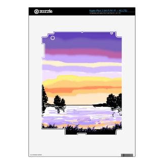 Paisaje del lago sunset pegatina skin para iPad 3