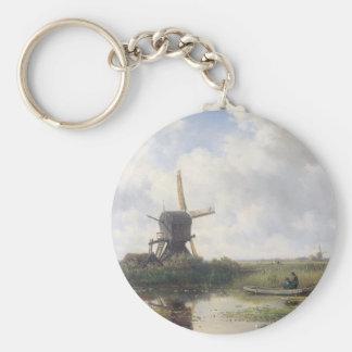 Paisaje del molino de viento - Willem Roelofs Llavero Redondo Tipo Pin