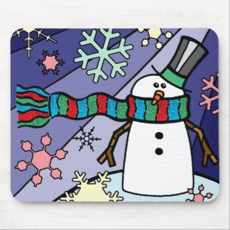 Paisaje del muñeco de nieve tapete de ratones