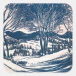 Paisaje del navidad del vintage, montañas de los calcomanía cuadrada personalizada