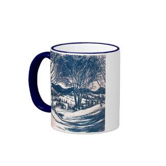 Paisaje del navidad del vintage, montañas de los tazas de café