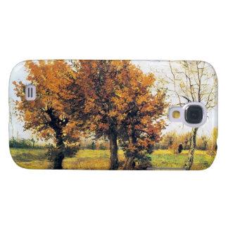 Paisaje del otoño con cuatro árboles carcasa para galaxy s4