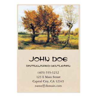 Paisaje del otoño con cuatro árboles tarjetas de visita grandes