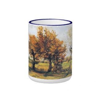Paisaje del otoño con cuatro árboles taza de dos colores