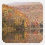 Paisaje del otoño con el lago, Vermont, los Pegatina Cuadrada