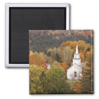 Paisaje del otoño con la iglesia, Vermont, los E.E Imán Cuadrado
