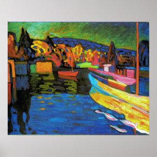 Paisaje del otoño con los barcos póster