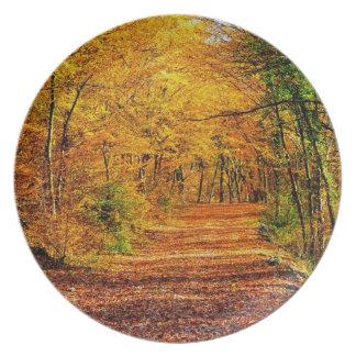 Paisaje del otoño platos