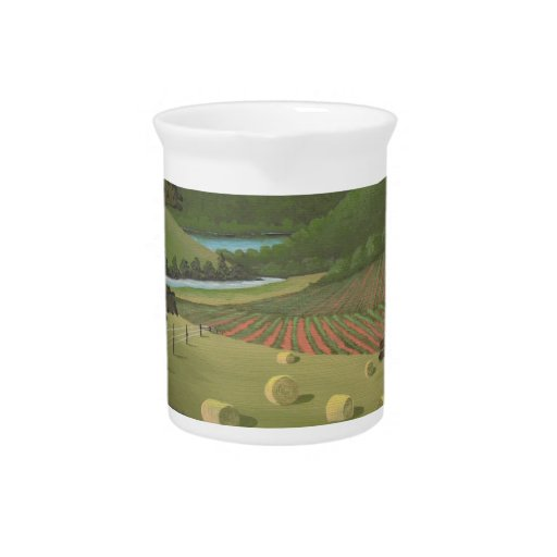 paisaje del país jarra de beber