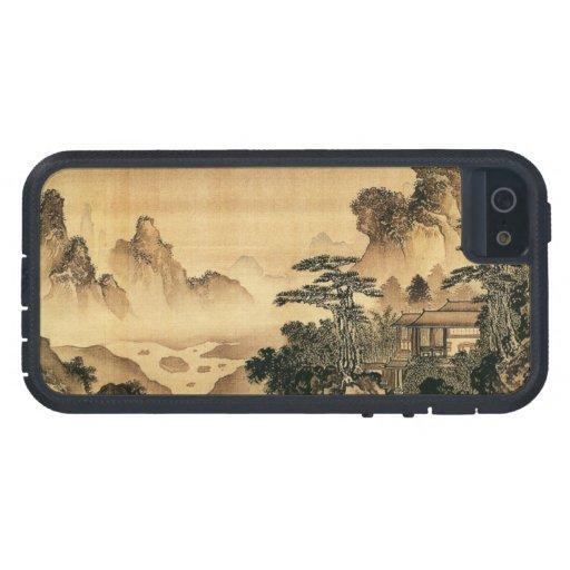 Paisaje del paisaje de la pintura de Sumi-e del ch iPhone 5 Carcasas