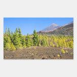 Paisaje del parque nacional de Teide en Tenerife Rectangular Pegatina