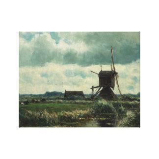 Paisaje del pólder con el molino de viento, Willem Impresion De Lienzo